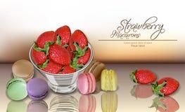 Erdbeer-und Makronenvektor realistisch Menüschablone der Einzelkarte 3d köstliche Nachtischplakate stock abbildung