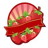Erdbeeraufkleber Stockbild