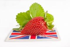 Erdbeerbritischer Flaggensommer. Lizenzfreie Stockfotos