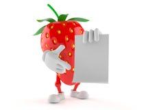 Erdbeercharakter mit leerem Blatt Papier Lizenzfreies Stockfoto