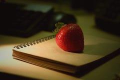 Erdbeere auf dem Buch Lizenzfreies Stockbild