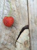Erdbeere auf einer Kiste Stockbild