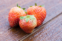 Erdbeere auf Holz mit Wassertropfen Stockfotos