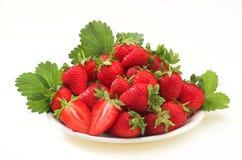 Erdbeere auf Platte Lizenzfreie Stockfotos