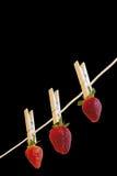 Erdbeere auf Schwarzem Lizenzfreies Stockbild