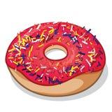 Erdbeere bereifter Donut mit Süßigkeit besprüht Stockbilder