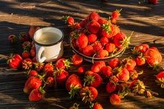 Erdbeere in der emaillierten Schüssel und im Becher von Milch, draußen stockfotos