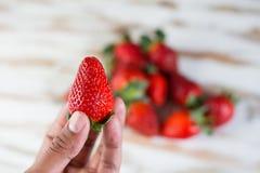 Erdbeere in der Hand stockbild