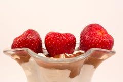 Erdbeere in der Vanille- und Schokoladenschale Stockbilder