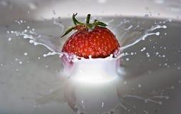 Erdbeere, die auf Milch spritzt Lizenzfreies Stockfoto