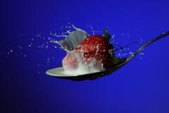 Erdbeere, die in der Milch spritzt Lizenzfreie Stockbilder