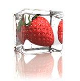 Erdbeere eingefroren im Eiswürfel Lizenzfreie Stockfotografie
