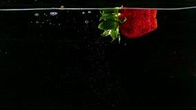 Erdbeere fällt in das Wasser auf Schwarzem stock footage