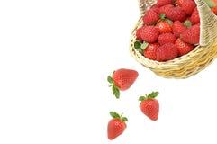 Erdbeere fällt vom Korb lizenzfreie stockfotos
