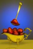 Erdbeere frisch in einem Löffel Lizenzfreie Stockbilder