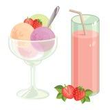 Erdbeere frisch und Eiscreme Stockbild