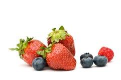 Erdbeere, Heidelbeere, Himbeere. Stockfotos