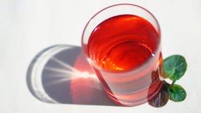 Erdbeere-Himbeersüßes kaltes Getränk mit tadellosen Blättern Stockfoto
