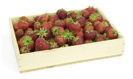 Erdbeere im hölzernen Kasten Stockfotos