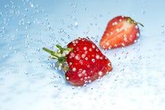 Erdbeere im Wasserspritzen Stockfoto