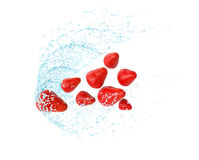 Erdbeere im Wasserspritzen, lokalisiert auf weißem Hintergrund Frische Fliegenerdbeere, Illustration 3d Lizenzfreies Stockfoto