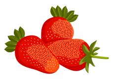 Erdbeere mit Blättern Gruppenerdbeerikone vektor abbildung
