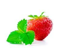 Erdbeere mit den Blättern getrennt auf Weiß Stockfoto