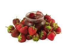 Erdbeere mit Erdbeere-Marmelade Lizenzfreies Stockbild