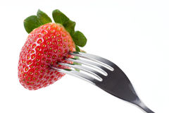 Erdbeere mit Gabel Lizenzfreies Stockfoto