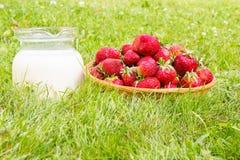 Erdbeere mit Milch Stockbild