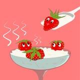 Erdbeere mit Sahne Lizenzfreie Stockfotos