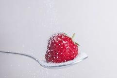 Erdbeere mit Zucker stockfotos