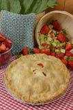 Erdbeere-Rhabarber-Torte stockfoto