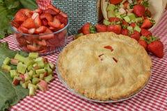Erdbeere-Rhabarber-Torte lizenzfreie stockfotos