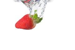 Erdbeere tauchen im Wasser ein Stockfotografie