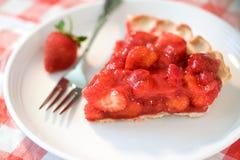 Erdbeere-Torte-Scheibe Lizenzfreies Stockfoto
