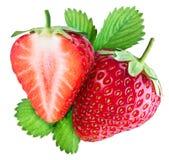 Erdbeere und die Hälfte der Frucht Lizenzfreie Stockbilder