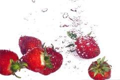 Erdbeere und Luftblasen Stockbilder