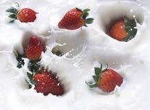 Erdbeere und Milch Stockbild