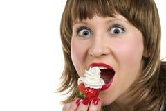 Erdbeere und Sahne Stockbild