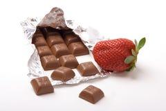 Erdbeere und Schokolade Stockfotografie