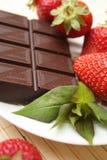 Erdbeere und Schokolade Stockbild