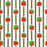 Erdbeere und vertikaler Kettenvektorwiederholungsdruck lizenzfreies stockbild