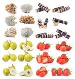 Erdbeere, Zuckerrohr, brauner Buchenpilz, Birne Stockfotografie