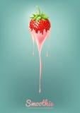 Erdbeerejoghurt und Smoothie melken mit Frucht, Saftkonzept, Vektor-Illustration Lizenzfreies Stockbild