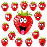 Erdbeerekarikatur mit vielen Ausdrücken Stockfoto