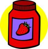 Erdbeeremarmeladeglas Stockfotos