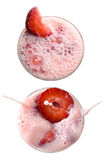 Erdbeeremilchshake getrennt auf Weiß Stockfotos