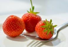 Erdbeeren auf Platte mit Gabel Lizenzfreie Stockfotos