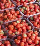 Erdbeeren in den Körben am Markt Stockfotografie